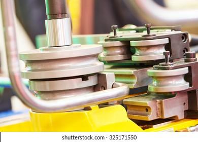 industrial bender equipment machine for metal pipe bending. Selective focus