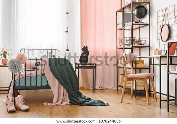 Industrial Black Furniture Cute Pink Textiles Interiors Stock Image 1078244036