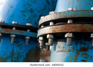Industrial blue pipelines joint with bolts and joints