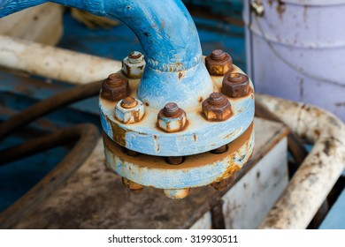 Industrial blue pipelines joint with rust bolts and joints