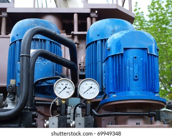 A industrial blue pump in detail