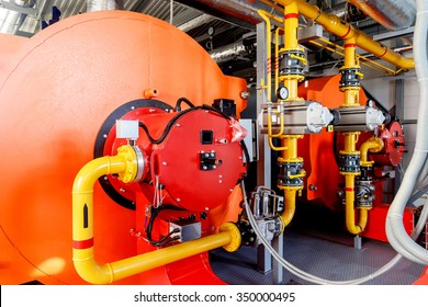 Industrial boiler equipment with gas burner