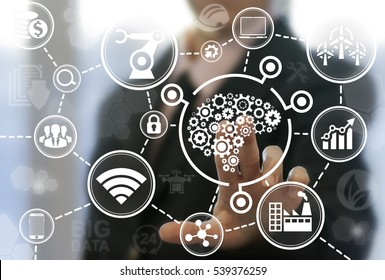 Industrial brain gear web development ideas concept. Brainstorm idea cogwheel smart industry 4.0 factory iot engineering manufacturing technology