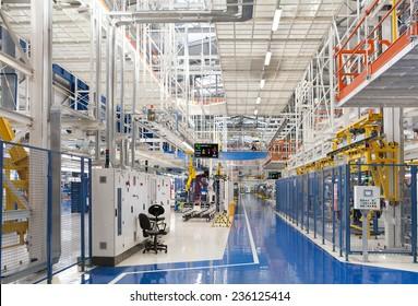 Industrial building interior at Fiat Cars Serbia factory circa april 2012.