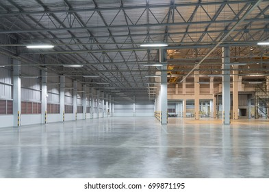 Industrial building or modern factory for manufacturing production plant or large warehouse, Polished concrete floor clean condition and space for industry product display or industry background.