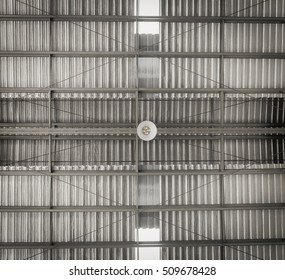 Industrial building warehouse ceiling lamp , show roof structure ( High contrast and grain tone )