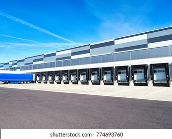 Industrial building and warehouse with trucks