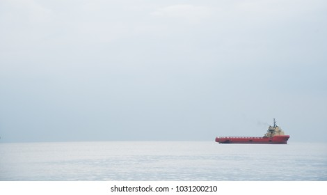 Industrial cargo ships anchored in the ocean