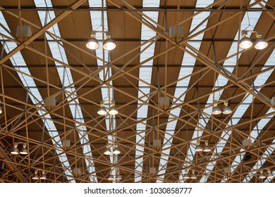 industrial ceiling lights in the pavilion