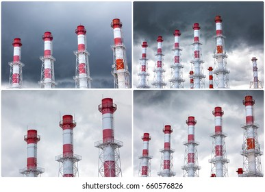Industrial chimneys against the sky.