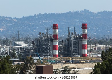 Industrial chimneys in factory