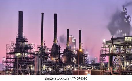 Industrial chimneys in maintenance, Botlek, Port of Rotterdam, The Netherlands