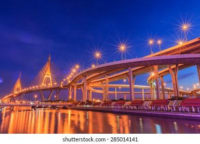 Industrial Circle Bridge in Bangkok, Thailand at twilight.
