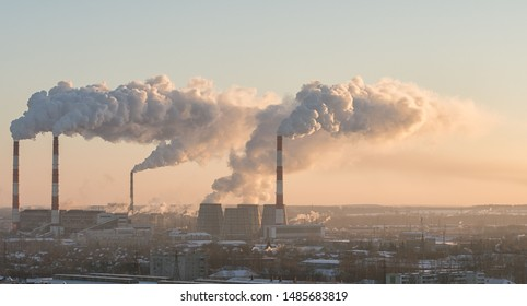 Industrial cityscape. Image of CHP in morning