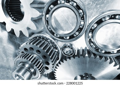 industrial cogwheels and ball-bearing arrangement, titanium and steel