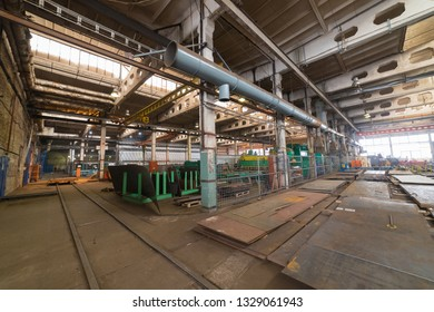 Industrial concept. An overview on construction site inside the manufacturing plate. A lot of industrial details