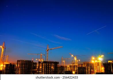 Industrial construction night city
