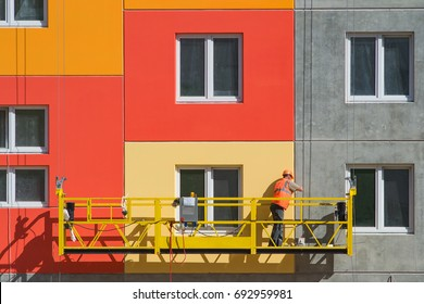 Industrial construction of residential home, in Sunny weather