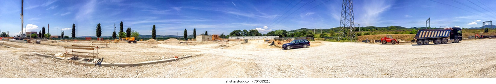 Industrial construction site panoramic view.