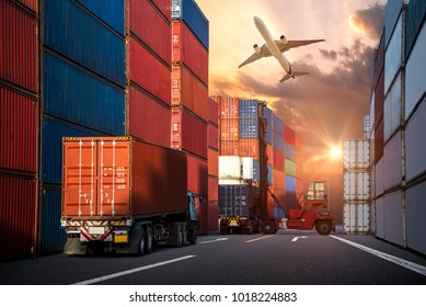Industrial Container Cargo freight ship, forklift handling container box loading for logistic import export and transport industry concept background