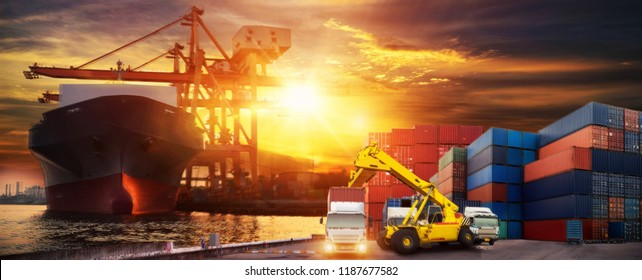 Industrial Container Cargo freight ship for Logistic Import Export concept, Logistics and transportation of Container Cargo ship and Cargo plane with working crane bridge in shipyard at sunrise