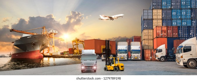 Industrial Container Cargo freight ship, forklift handling container box loading for logistic import export and transport industry concept backgroundtransport industry background