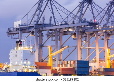 Industrial Container Cargo freight ship with working crane bridge