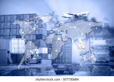 Industrial Container Cargo freight ship, Map global logistics partnership connection of Container Cargo freight ship for Logistics Import Export background