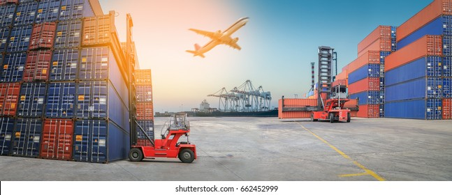 Industrial Container Cargo for Logistic Import Export at yard.