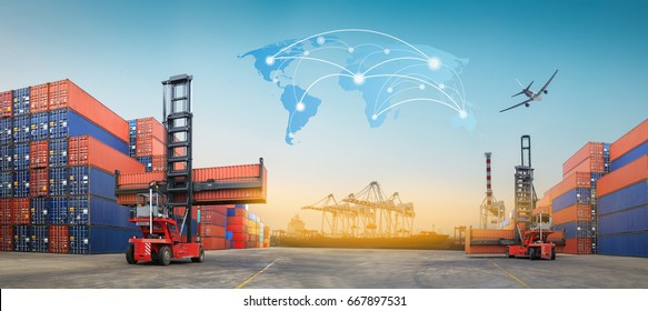 Industrial Container Cargo for Logistic Import Export at yard.(Elements of this image furnished by NASA)