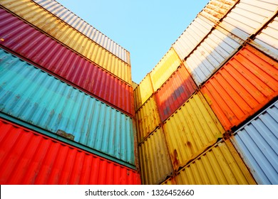 Industrial container stack, isolated on a blue-white background