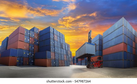 Industrial Container yard with forklift working for Logistic Import Export business