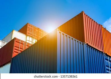 Industrial Containers box from Cargo freight ship for import export concept.