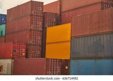 Industrial Containers box from Cargo freight ship for import export concept.      Containers at Large commercial port
