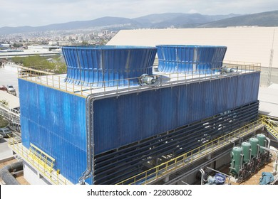 Industrial cooling tower.