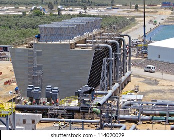 Industrial cooling tower, pipes and pumps