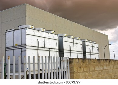 Industrial Cooling Towers used for refrigeration purposes in a big building