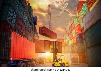 Industrial crane loading container to truck for Logistic Import Export background, Business Logistics and transportation concept
