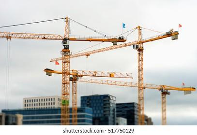 Industrial cranes building Oslo bokeh background