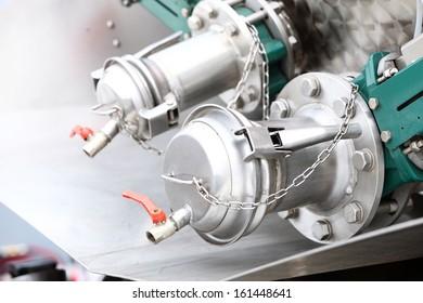 Industrial details of new sewage truck equipment, valves