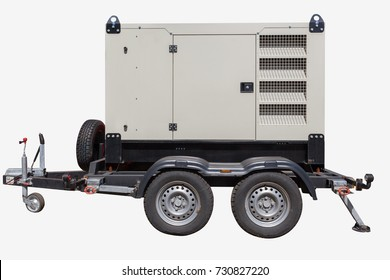 Industrial diesel power generator on white background.
