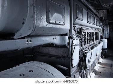 Industrial diesel-generator closeup