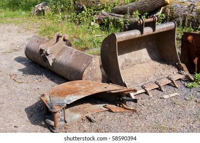 Industrial Digger Buckets in Yard