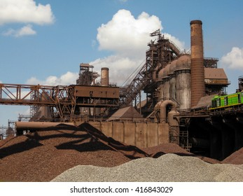 Industrial District Metallurgical Plant Iron Work.View on Blast Furnaces and Technological Equipment at Steel and Iron Works Plant in Ukraine.