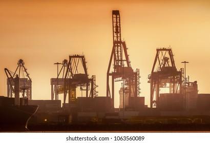 industrial docklands skyline at dusk on the Yarra river, Melbourne