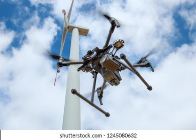 Industrial drone for inspection of rotor blades on wind turbines
