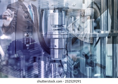 Industrial equipment with businessman background