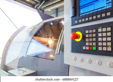 industrial equipment of cnc milling machine center in tool manufacture workshop.