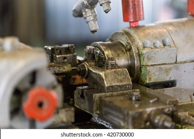 Industrial equipment, machine, machine. Realistic view of the lathe in the workshop at an engineering plant.