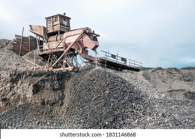 Industrial equipment in the mountainous region of Eastern Siberia, where natural gold is mined. Several tons of mountain soil are poured into the hopper of this device, and all this is washed out with